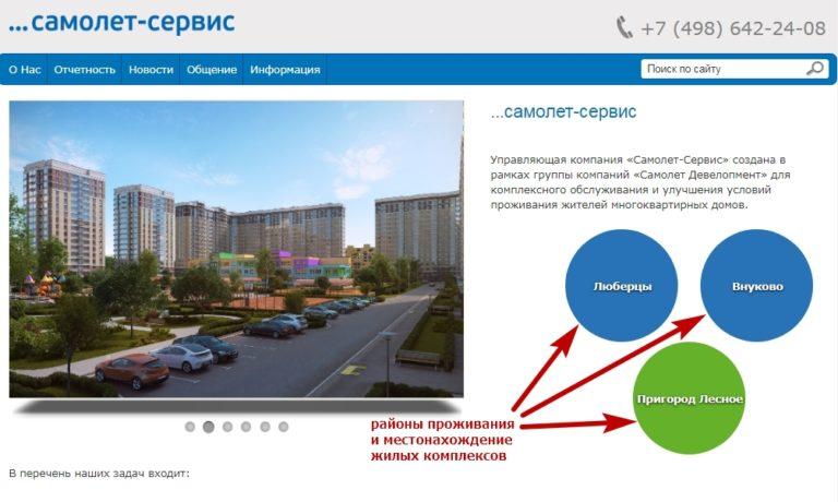 Районы расположения ЖК, которые обслуживает УК «Самолет Сервис»