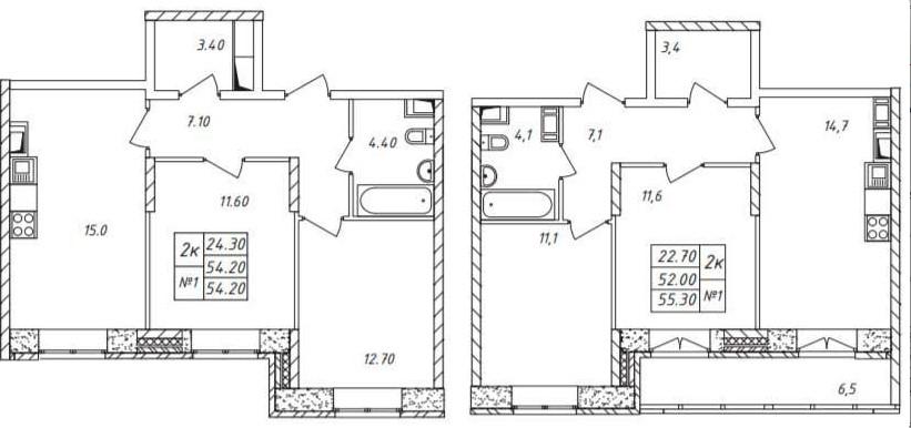 Двухкомнатные квартир линейной планировки