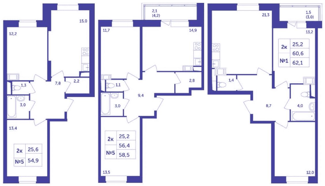Планировки двухкомнатных квартир распашного типа