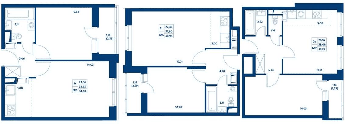 Планировки трехкомнатных квартир в ЖК «Остафьево»