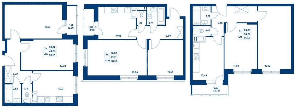 Планировки классических двухкомнатных квартир