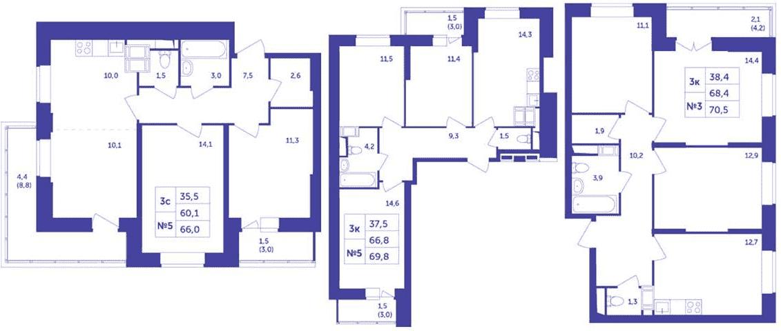 Планировки классических трехкомнатных квартир ЖК «Большое Путилково»