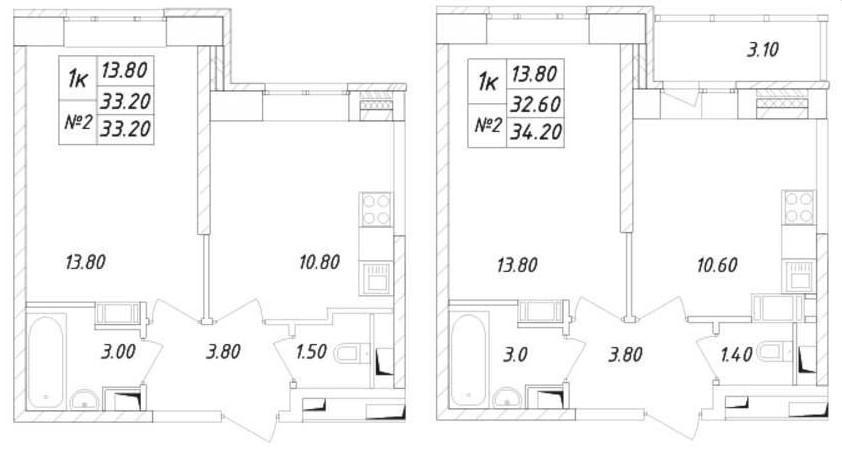 Планировки самых скромный однокомнатных квартир в ЖК «Химки 2019»