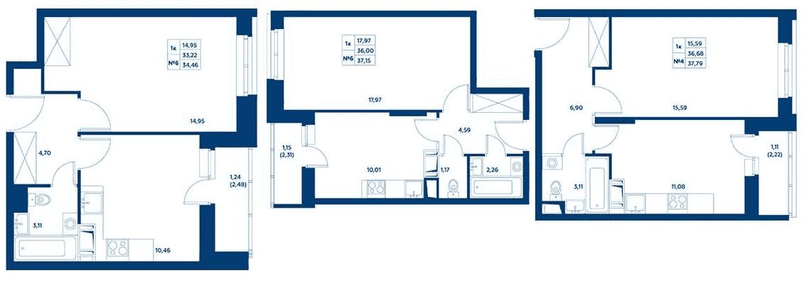 Планировки однокомнатных квартир в ЖК «Остафьево»