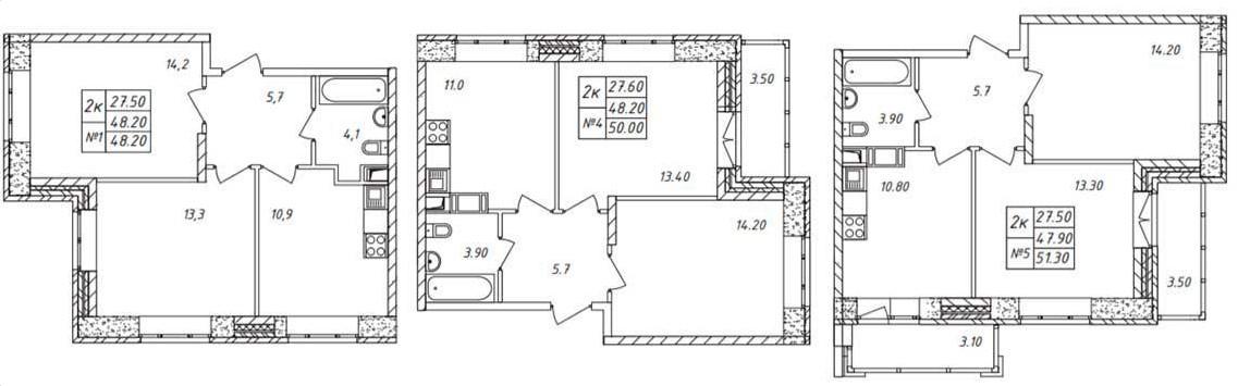 Планировки угловых двухкомнатных квартир в ЖК «Химки 2019»
