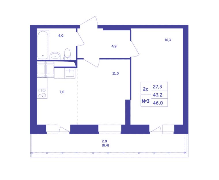Типовая планировка двухкомнатной квартиры в ЖК «Большое Путилково»