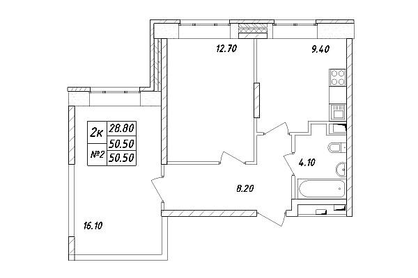 Типовая планировка двухкомнатной квартиры в ЖК «Химки 2019»