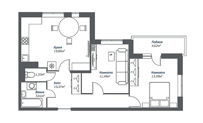 Типовая планировка двухкомнатной квартиры в ЖК «Томилино 2018»