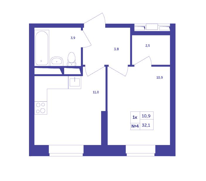 Типовая планировка однокомнатной квартиры в ЖК «Большое Путилково»