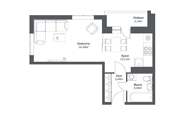 Типовая планировка однокомнатной квартиры в ЖК «Томилино 2018»