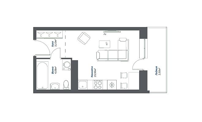 Типовая планировка студии в ЖК «Томилино 2018»