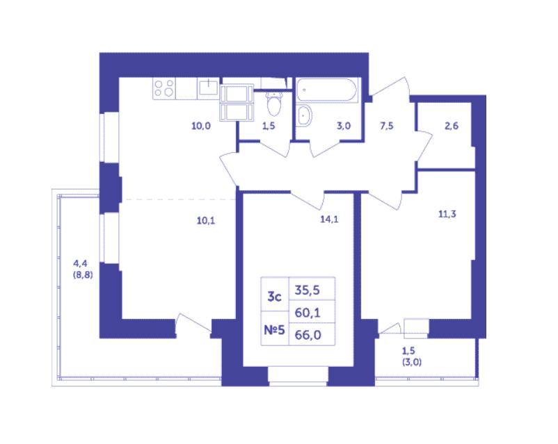Типовая планировка трехкомнатной квартиры в ЖК «Большое Путилково»