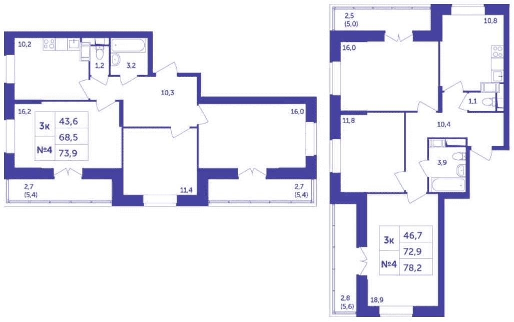 Улучшенные планировки трехкомнатных квартир