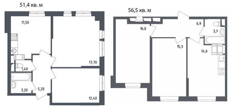 Двухкомнатные квартиры классической планировки