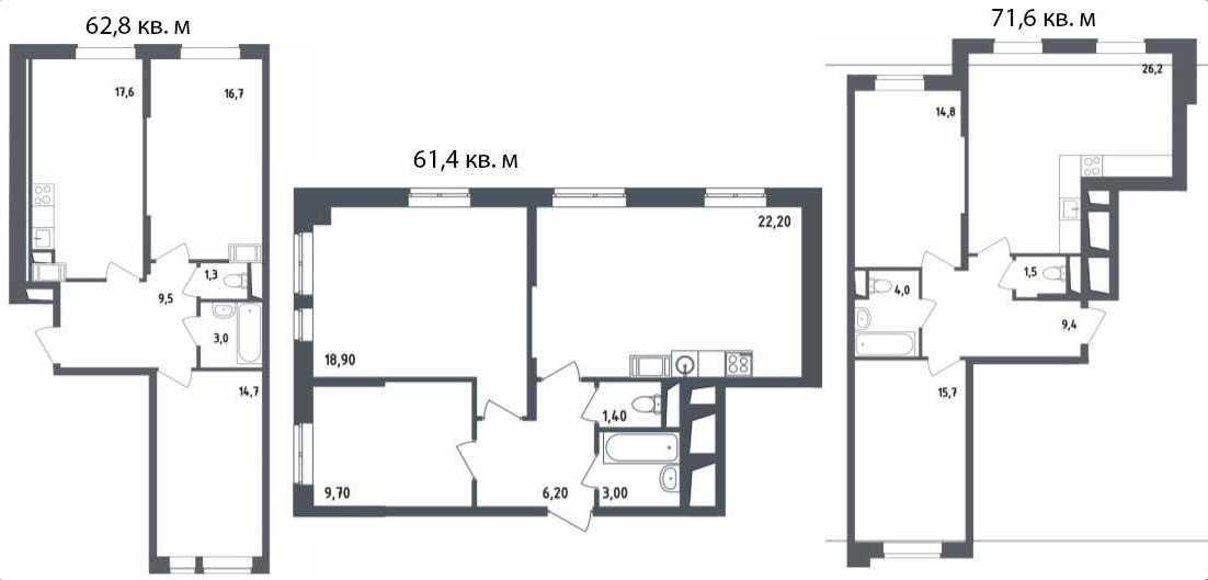 Двухкомнатные квартиры площадью свыше 60 кв. м