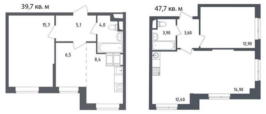 Евро-планировки двухкомнатных квартиры в домах «Квартала Некрасовка»