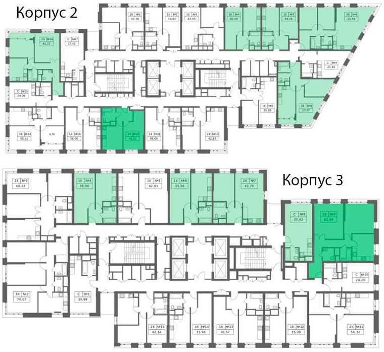 Компоновка квартир в корпусах 1, 2, 3 ЖК «Спутник»