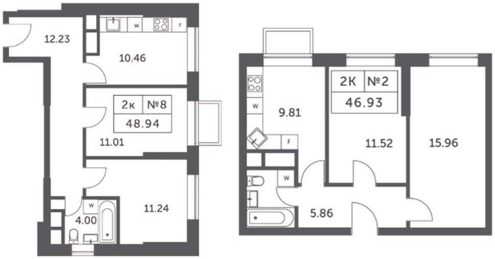 Планировки двухкомнатных апартаментов в корпусах 4, 5, 6