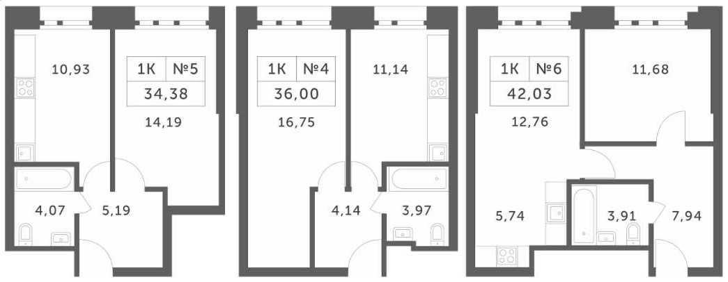 Планировки однокомнатных апартаментов в корпусах 1, 2, 3
