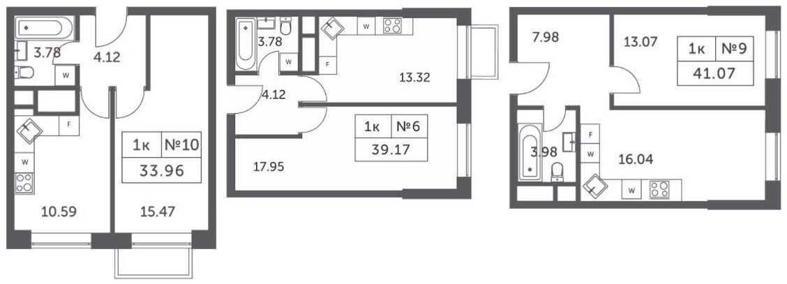 Планировки однокомнатных апартаментов в корпусах 4, 5, 6