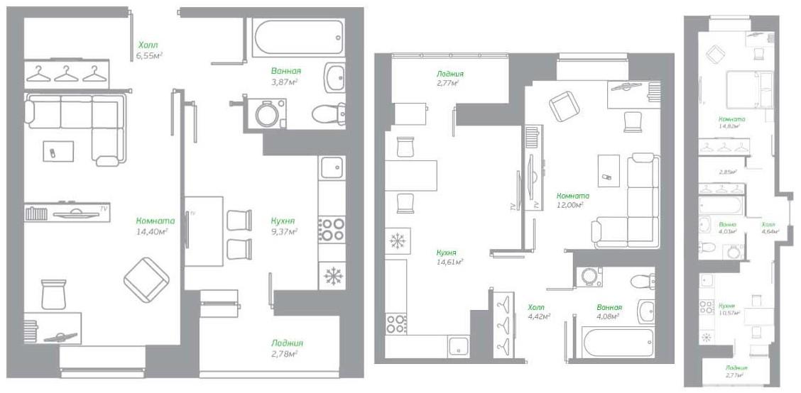 Планировки однокомнатных квартир в ЖК «Пригород Лесное»