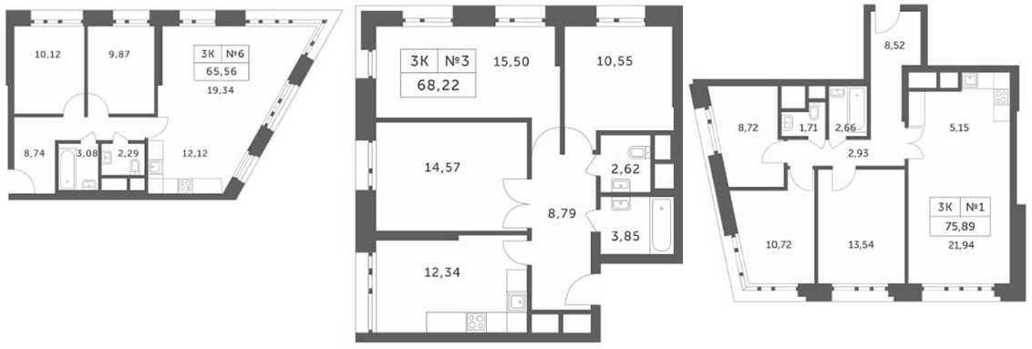 Планировки трехкомнатных апартаментов в корпусах 1, 2, 3