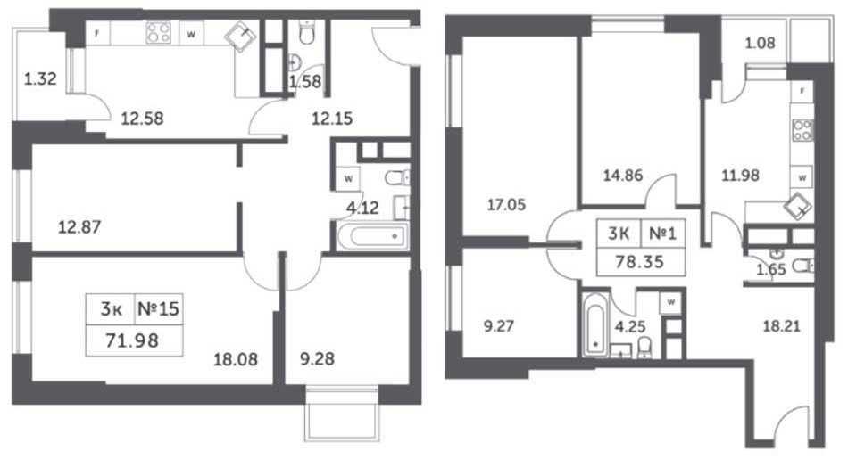 Планировки трехкомнатных апартаментов в корпусах 4, 5, 6