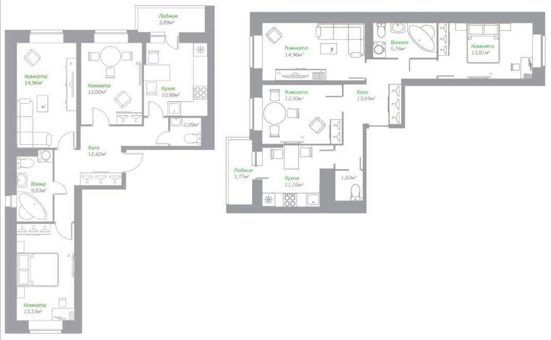 Планировки трехкомнатных квартир в ЖК «Пригород Лесное»