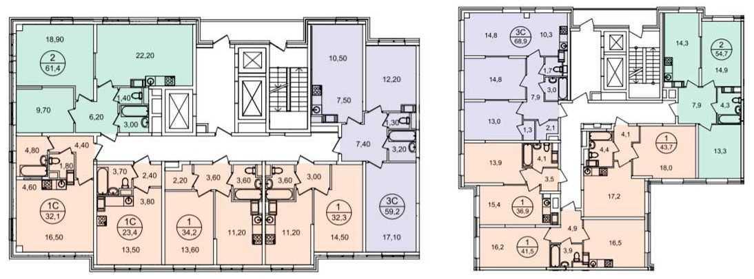 Планы этажей в домах ЖК «Квартал Некрасовка» ГК «Самолет»