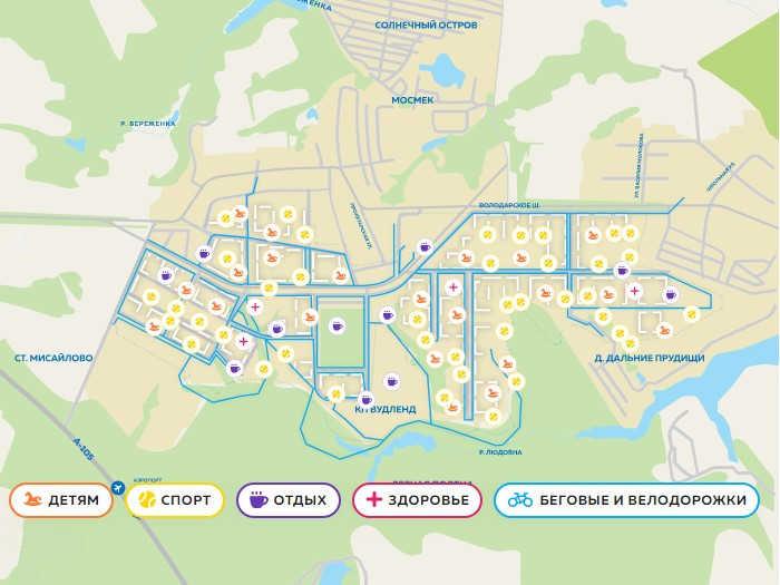 Схема расположения инфраструктурных объектов на территории ЖК «Пригород Лесное»
