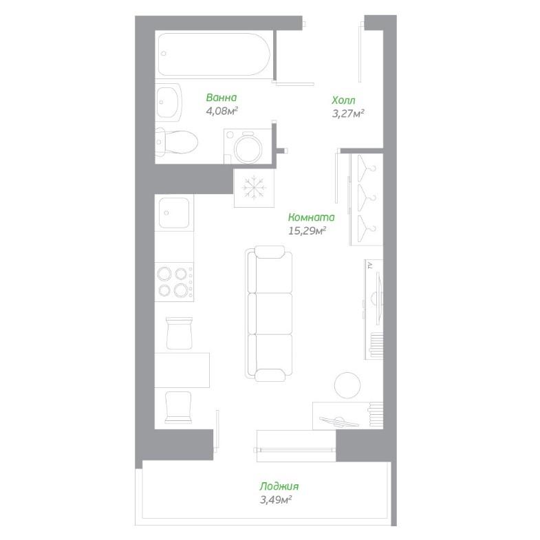 Типовая планировка студии в ЖК «Пригород Лесное» от ГК «Самолет»