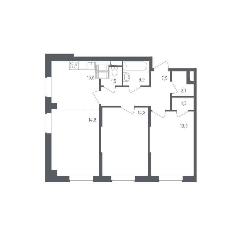 Типовая планировка трехкомнатной квартиры в ЖК «Квартал Некрасовка»