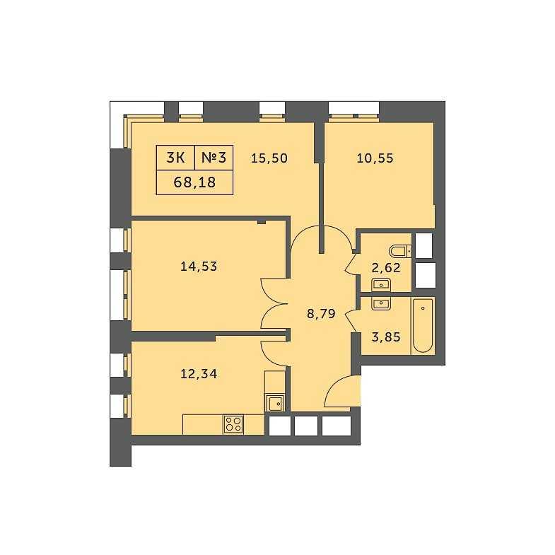 Типовая планировка трехкомнатной квартиры ЖК «Спутник» Строгино