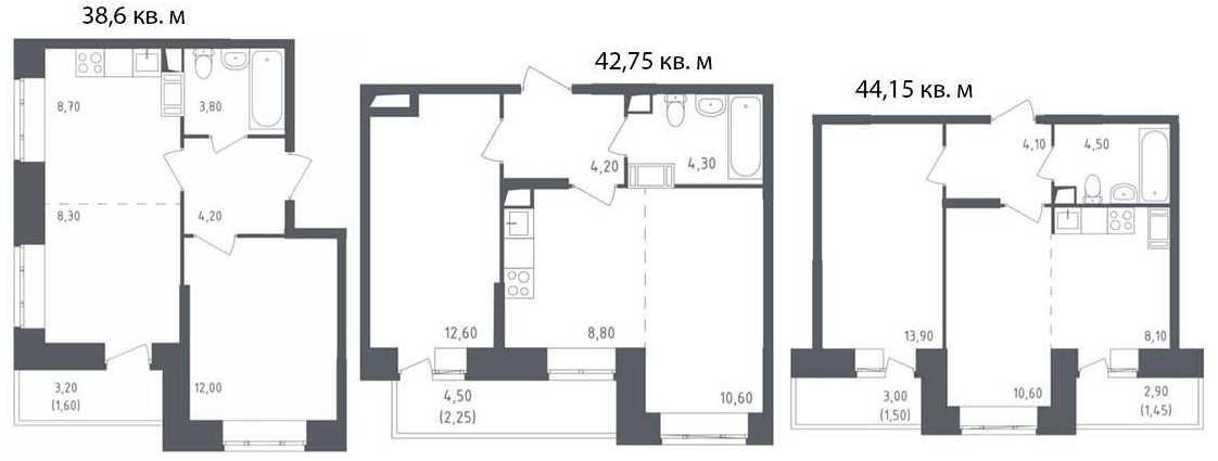 Евро-планировки двухкомнатных квартиры в ЖК «Люберцы»