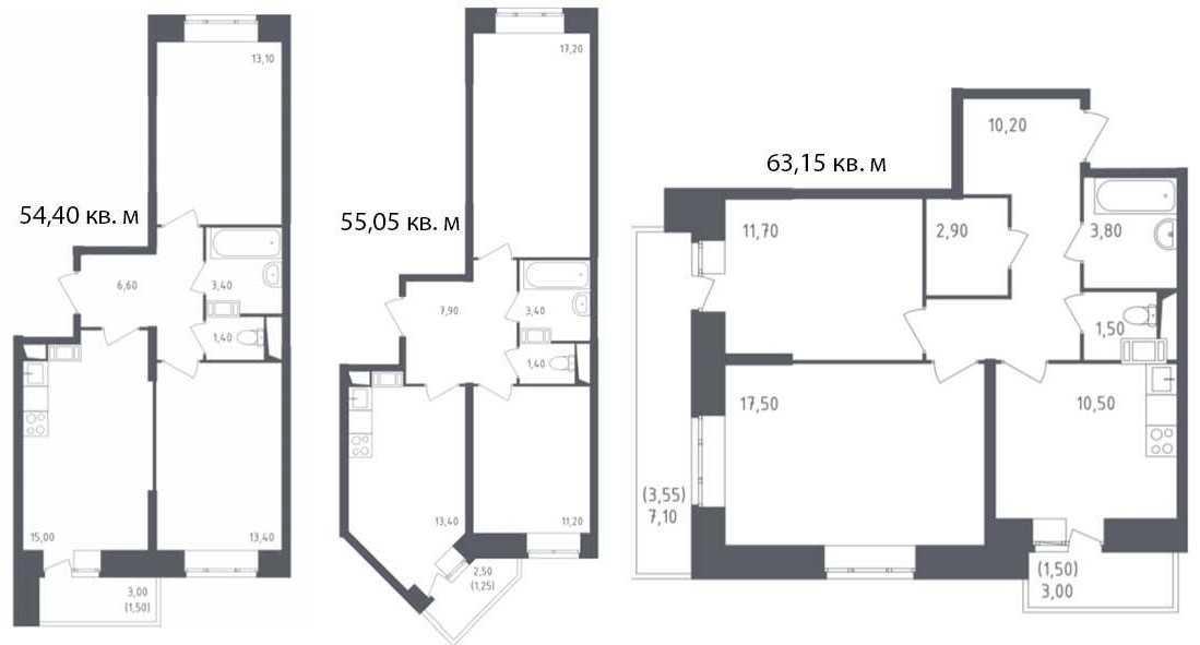 Планировки больших двухкомнатных квартир