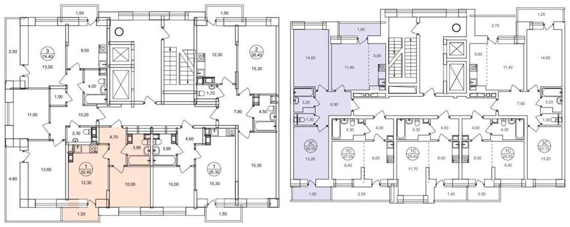 Планировки квартир на этажах в домах ЖК «Люберцы» ГК «Самолет»