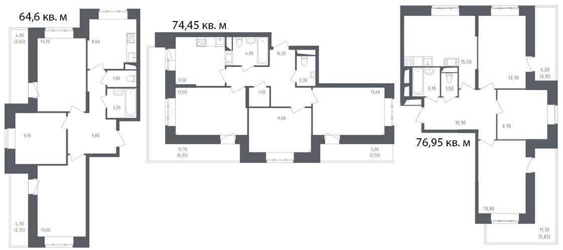 Планировки средних трехкомнатных квартир
