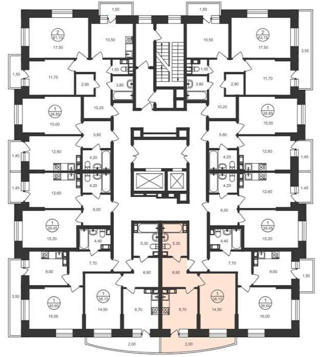 Расположение квартир на этажах в корпусах башенного типа ЖК «Люберцы»