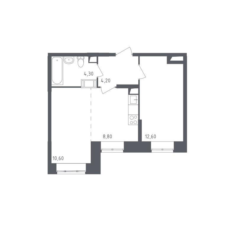 Типовая планировка двухкомнатной квартиры ЖК «Люберцы»