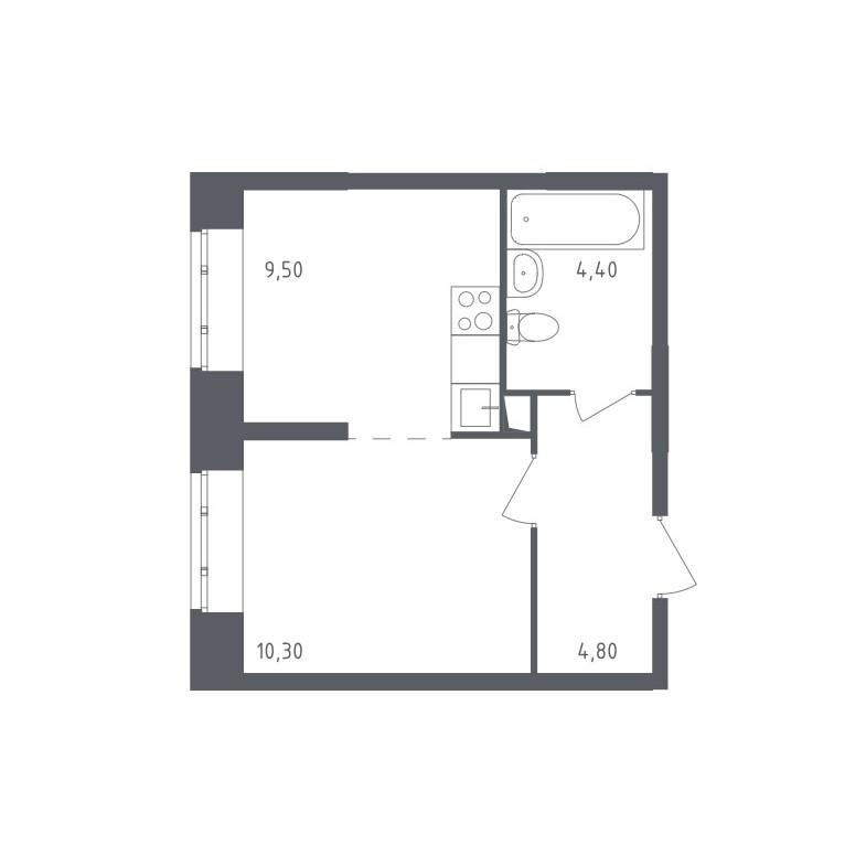 Типовая планировка однокомнатной квартиры ЖК «Люберцы»
