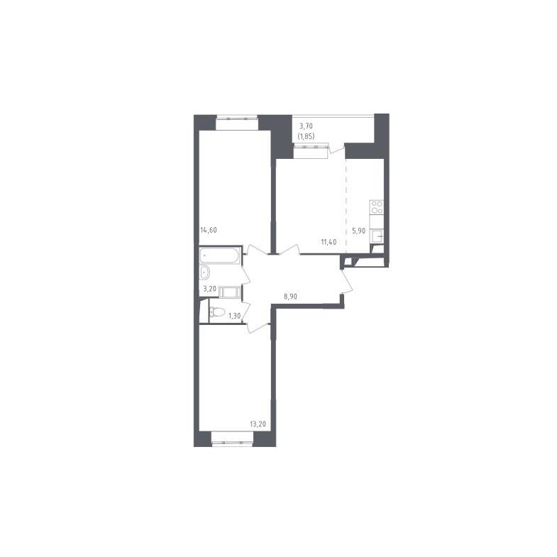 Типовая планировка трехкомнатной квартиры ЖК «Люберцы»
