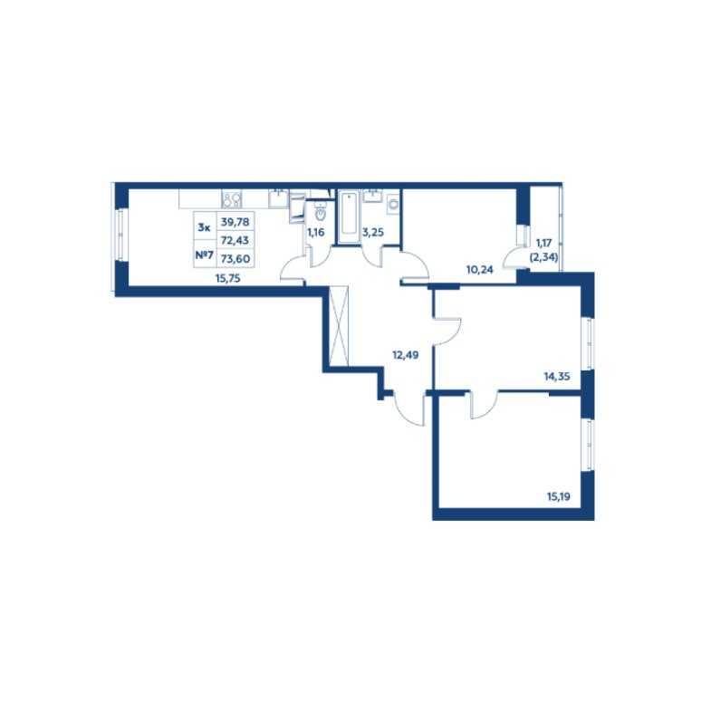 Типовая планировка трехкомнатной квартиры в ЖК «Остафьево»